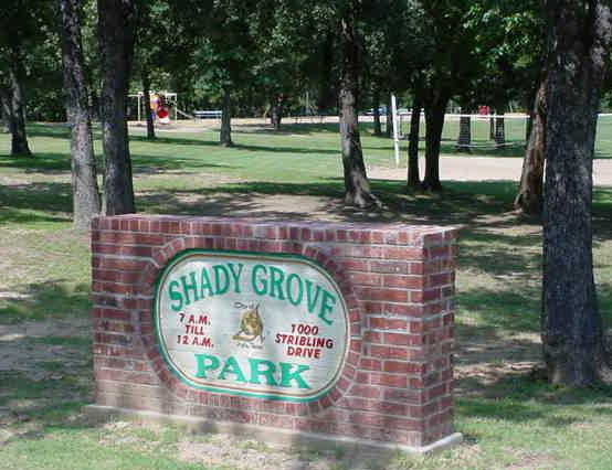 Shady Grove Park sign